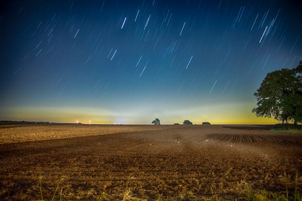 Field Under A Starry Sky | Full Moon Photography Print