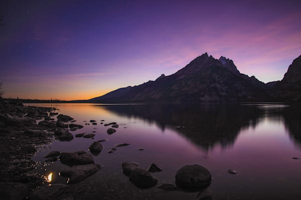 Grand Tetons Lake Full Moon | Full Moon Photography Print