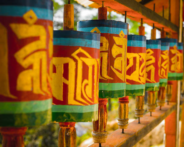 Bhutanese Prayer Wheels III | Travel Art Photography Print