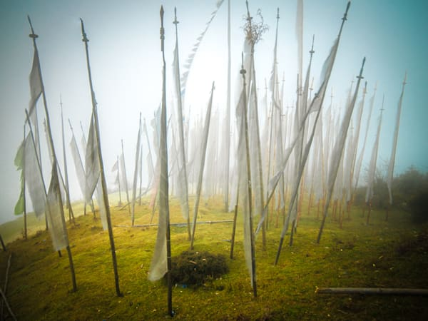 Blowing Bhutanese Prayer Flags | Travel Art Photography Print