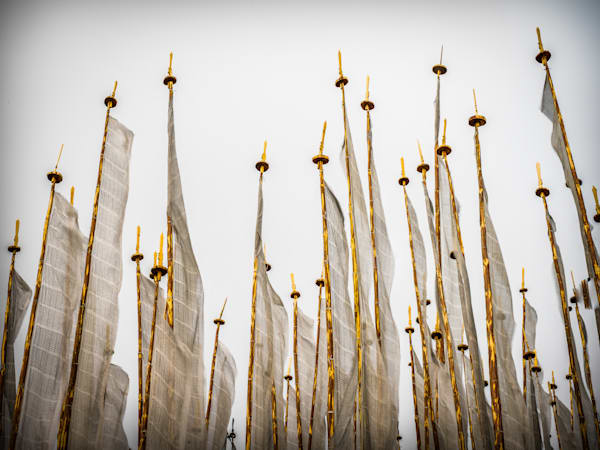 Gold Bhutanese Flags Waving | Travel Art Photography Print