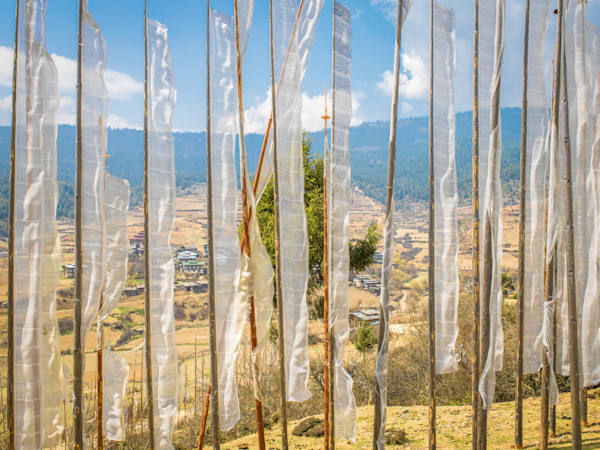 Bhutan Memorial Flag Overlook II  | Travel Art Photography Print