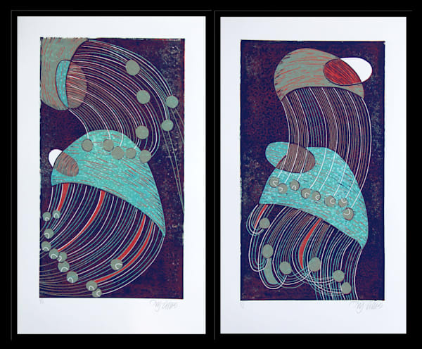Natural Wonders - diptych reduction linocut