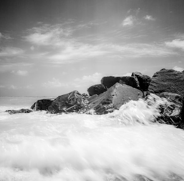 Barbados Rocks and Waves | Black and White Landscape Photography