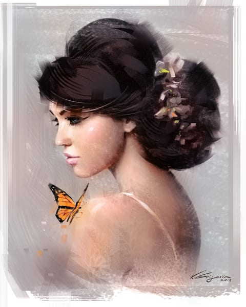 My Butterfly - Fine Art by Vahe Grigorian Los Angeles Artist - Digital Prints available for Canvas, HD Acrylic and more.custom art, digital portrait, portraits , art for sale