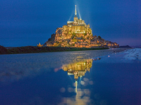 Mont St. Michel Blue Reflection II | Travel Photography Print