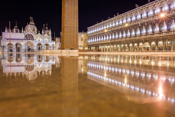 Venice St Marks Square Reflection   Travel Photography Print