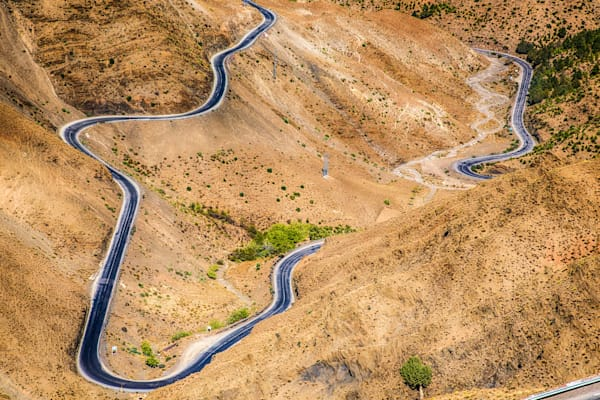 Atlas Mountains Winding Road II | Mountain Landscape Photography Print