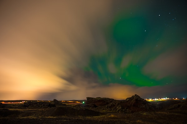 Icelandic Northern Lights | Mountain Landscape Photography Print