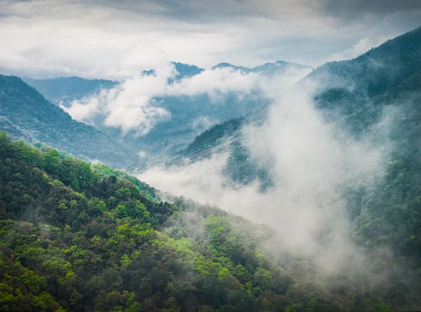 Bhutan Mountain Mist II | Mountain Landscape Photography Print