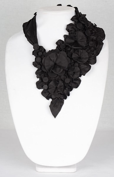 Tropical Floral in black Silk fabric Necklace