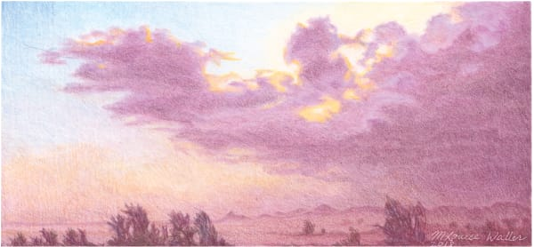 Dust storm in the desert, colored pencil  by Louise Waller