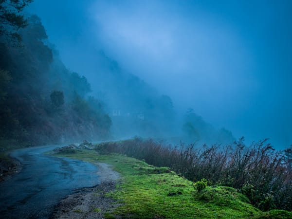 Bhutan Foggy Road | Mountain Landscape Photography Print