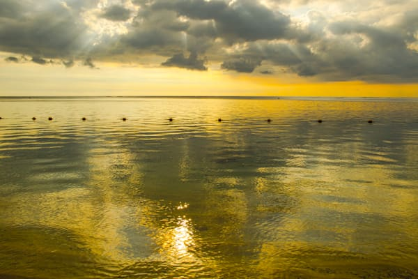 Golden Ocean In Mauritius | Tropical Landscape Photography Print