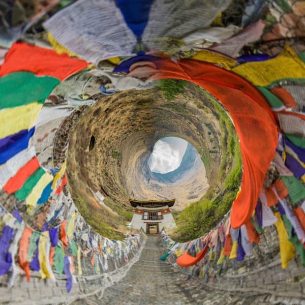 Bhutan Iron Bridge | Tiny Planet Art Photography