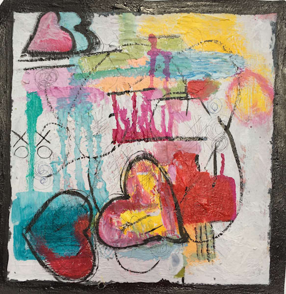 Heart Ache original mixed media painting on paper
