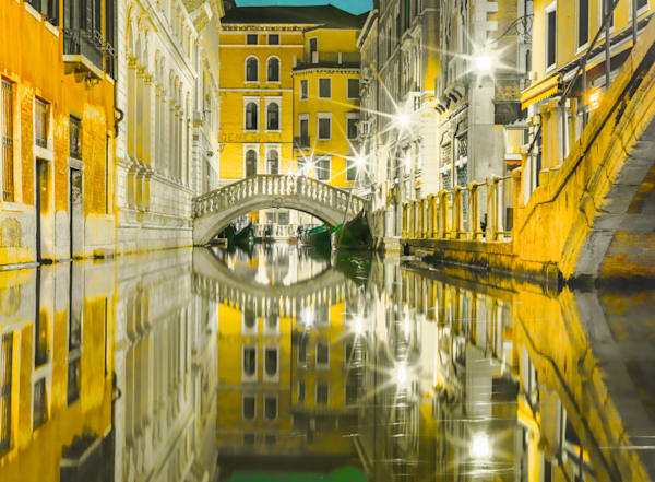 Golden Venetian Canal | Urban Art Photography Print