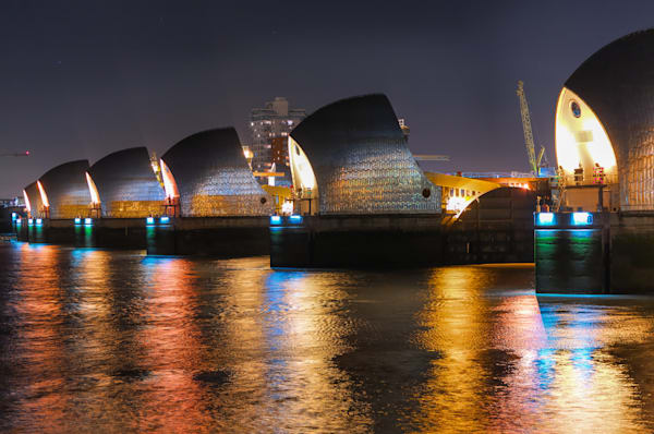 Thames Barrier in the Dark | London Art Photography Print