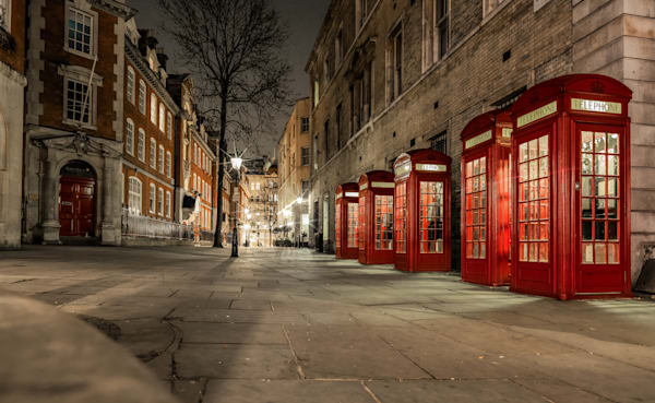 Red Boxes in a Row | London Art Photography Print