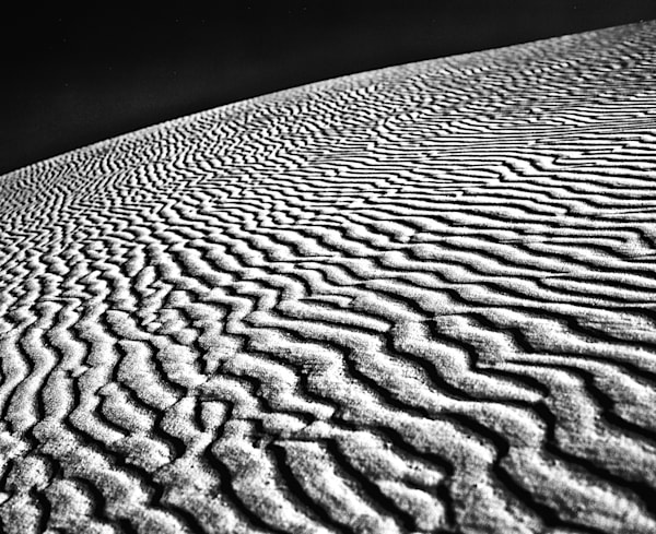 Rippled White Sand Dune | Black and White Landscape Photography