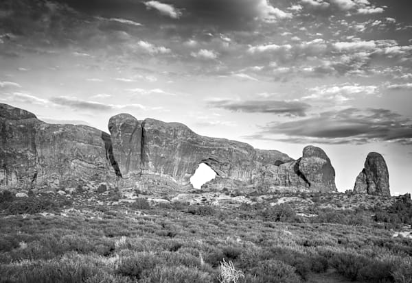 Moab Natural Arch | Black and White Landscape Photography