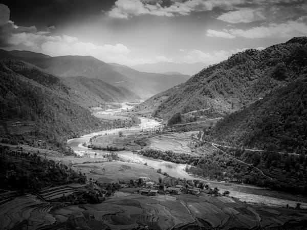 Bhutan Punakha Valley | Black and White Landscape Photography