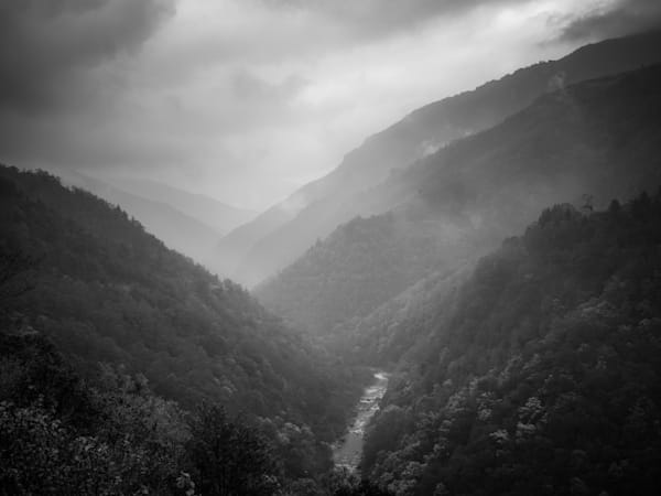 Bhutan Mountain Valley Fog | Black and White Landscape Photography