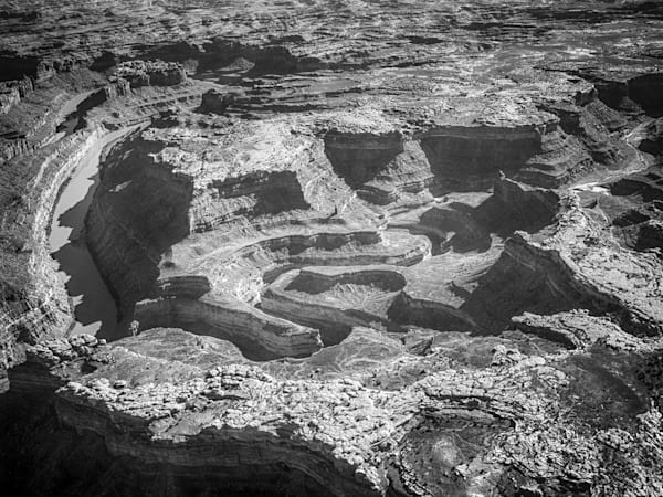 River Through Canyonlands   Black and White Landscape Photography