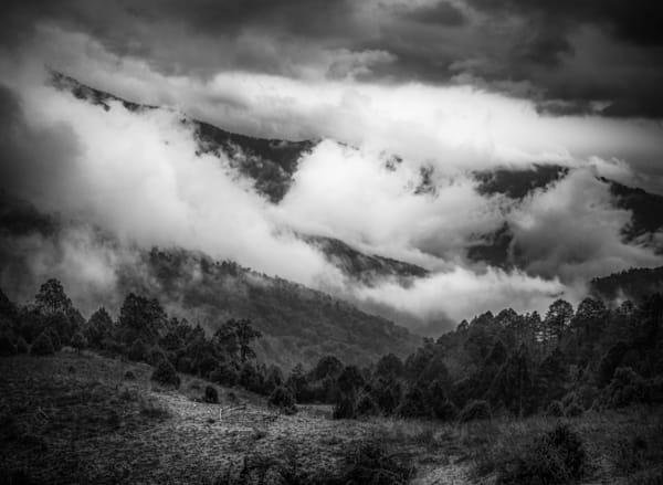 Bhutan Himalaya Clouds | Black and White Landscape Photography