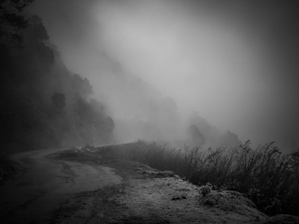 Foggy Road in Bhutan II | Black and White Landscape Photography
