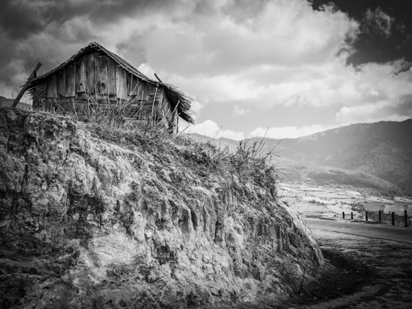 Bhutan Cliff House   Black and White Landscape Photography