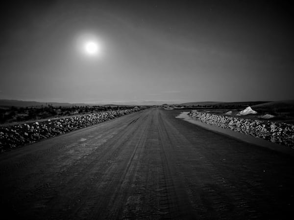 Moonlit Road At White Sands | Black and White Landscape Photography