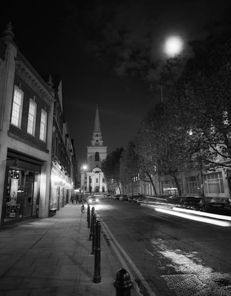 Spitalfields Moon Glow | Black and White London Photography