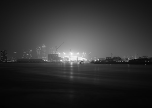 Millennium Dome in Fog | Black and White London Photography