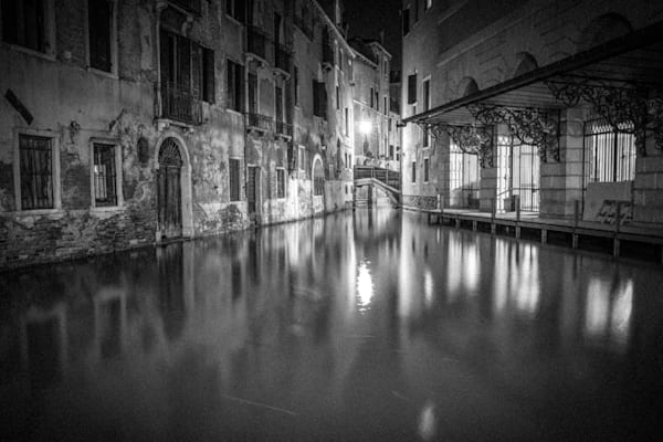 Venice Canal Reflection | Black and White Architecture Photography