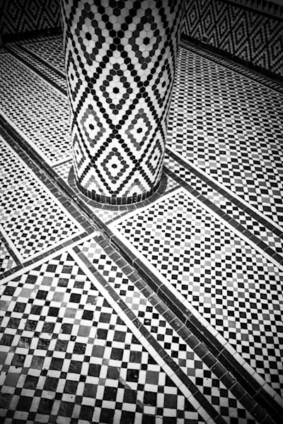 Marrakech Palace Tiles III   Black and White Art Photography Store