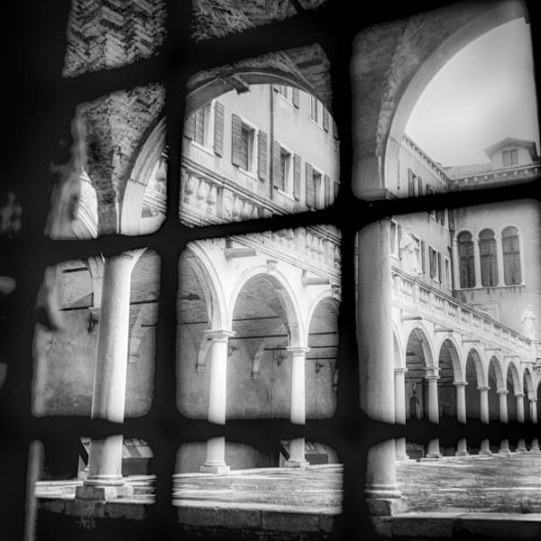 Venice Square Window Sill | Black and White Architecture Photography
