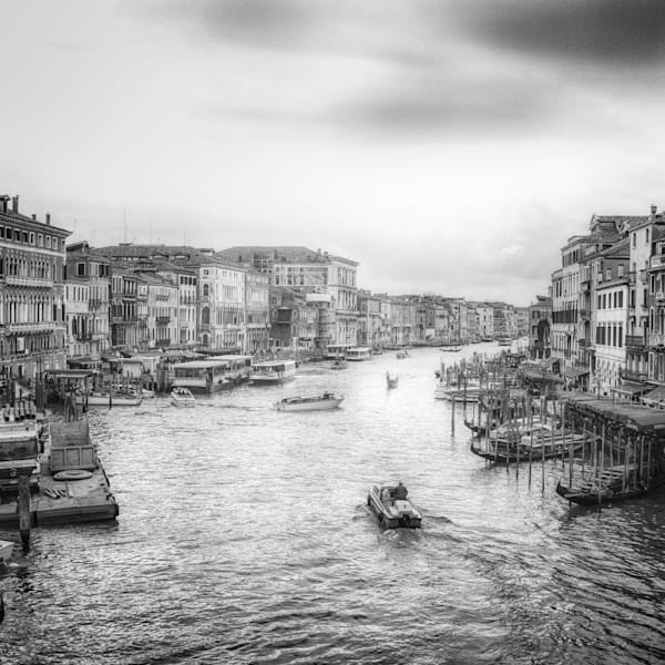 Busy Venice Grand Canal | Black and White Architecture Photography