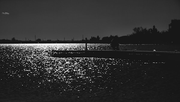 Dark Dock In The Moonlight   Black and White Landscape Photography