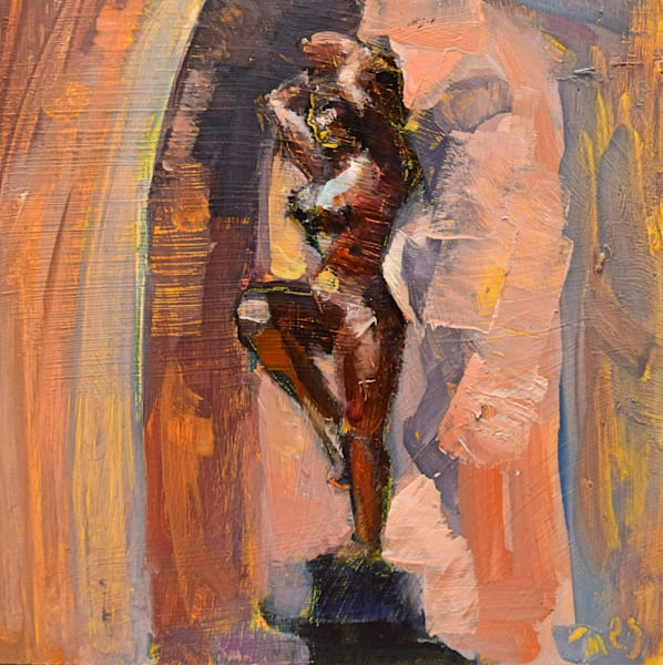 """Plein air oil painting of a female bronze sculpture by Stella Elkins sunning herself on Bucks County Community College Campus. Oil painting with mixed media on wood, 6""""x6"""" framed with a silver floater frame."""