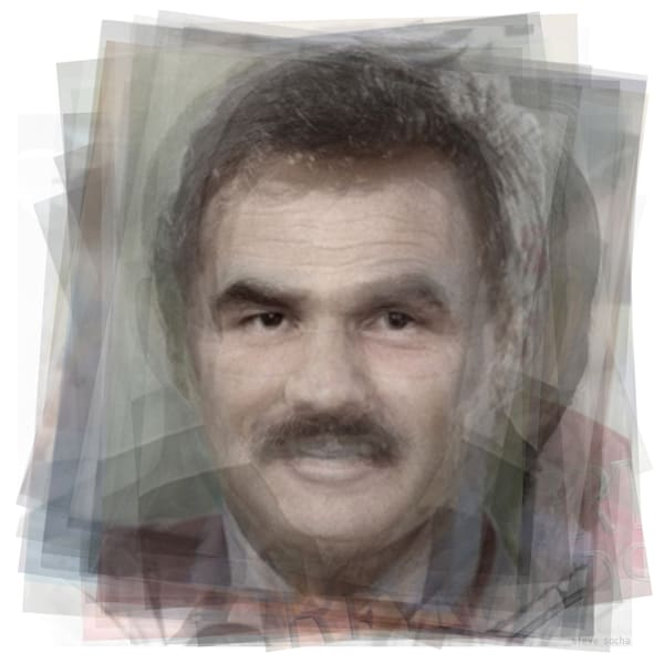 Overlay art – contemporary fine art prints of actor Burt Reynolds.