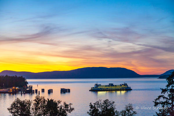 Fine art prints of a Washington State ferry in Anacortes, WA.
