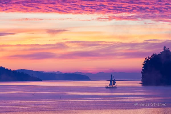 Fine art prints of a sailboat on Skagit Bay, Washington