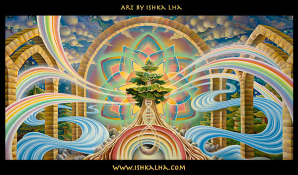 Room With a View - Visionary Art Tapestry by Ishka Lha