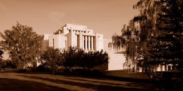 Cardston Temple - Side view Panorama in Sepia