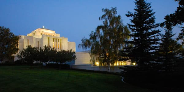 Cardston Temple - Evening Side View