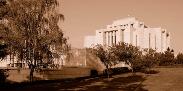 Cardston Temple - Garden from the Side Sepia