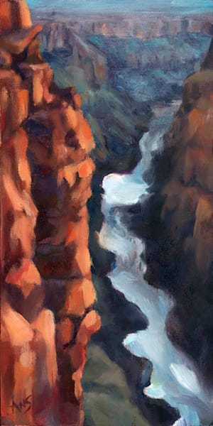 Grand Canyon - Colorado River Glimpse - Oil on Ampersand Gessoboard, original art bey Ans Taylor