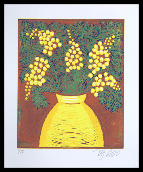 Mimosa - linocut reduction