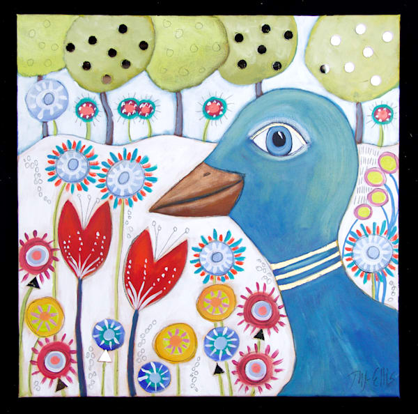 SOLD - Happy Bird - acrylic on canvas